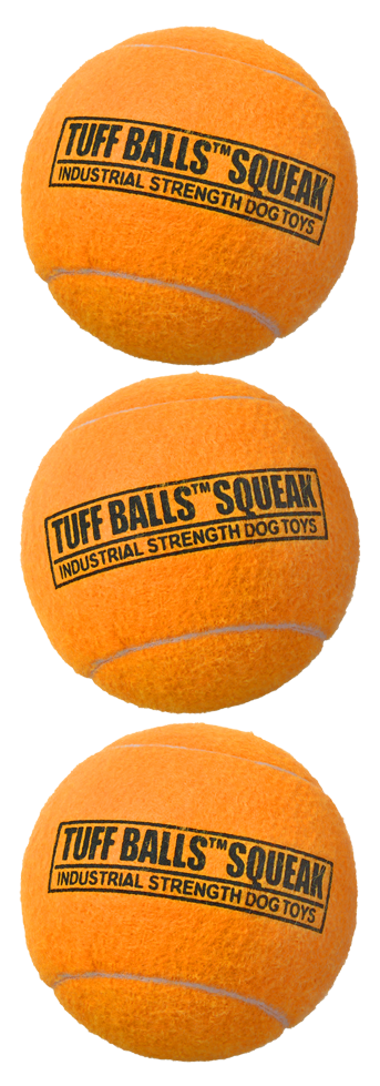 Tuff Balls Squeak 6cm 3-Pack Oranje